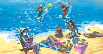tea sisters che giocano sulla spiaggia