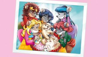 foto delle tea sisters con dei cuccioli di cane