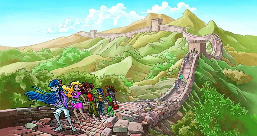 le tea sisters stanno percorrendo un tratto della grande muraglia