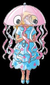 Colette con un costume da medusa