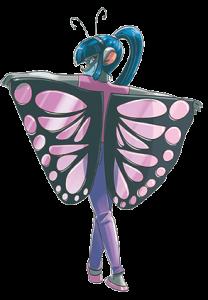 Violet con costume da farfalla