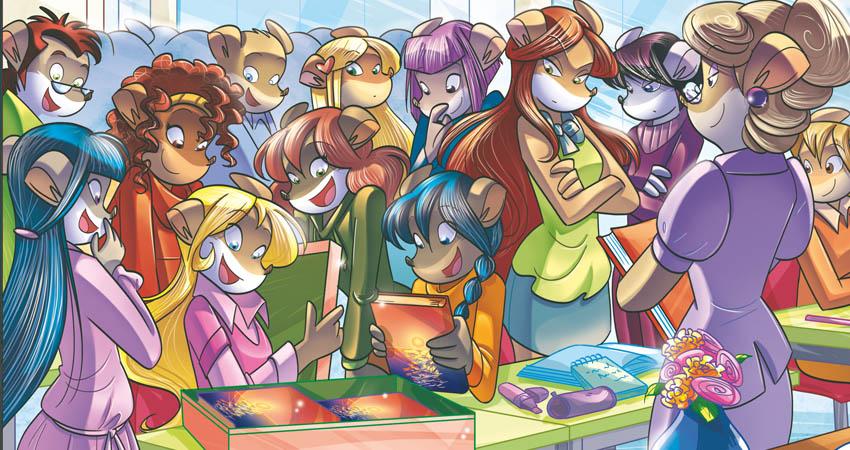 Tea Sisters in aula con libri