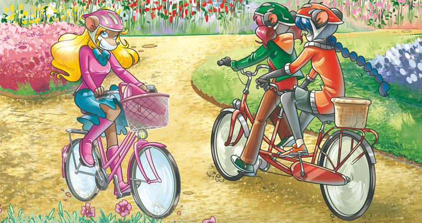 Colette e le Tea Sisters in bici nel parco