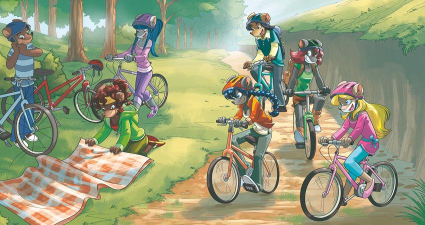 Tea Sisters in bicicletta nel bosco
